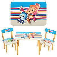 Столик 501-4 Фиксики деревянный (60 х 40 см) и 2 стульчика HN