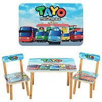 Компактный детский деревянный столик, два стульчика Tayo 501-21, столешница ламинированная 40х60 см МДФ