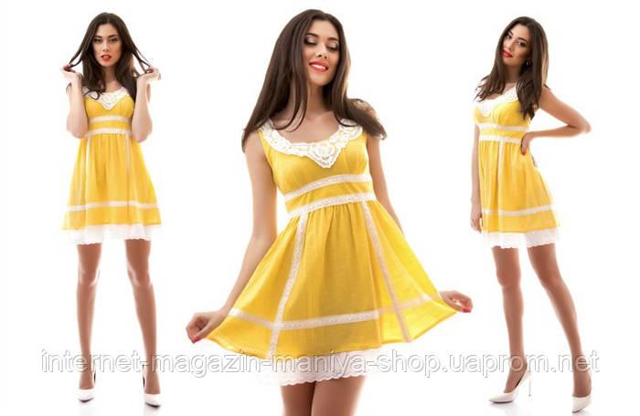 Платье лён с кружевом в пяти расцветках