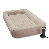 Детская надувная кровать с бортиками 66810 Intex 107x168x25 см, флокированная, бежевая