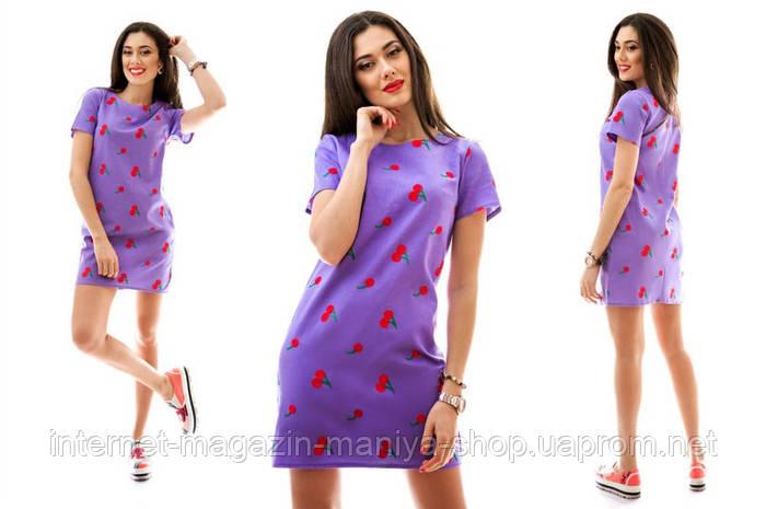 Платье лён вышивка вишня в 5 расцветках
