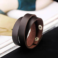 Кожаный браслет в три оборота коричневый, фото 1