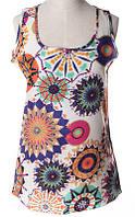 Блуза женская без рукавов / Майка шифоновая с абстрактными кругами