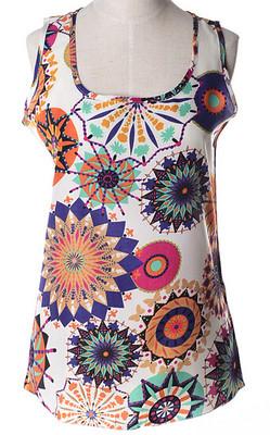 Блуза женская без рукавов / Майка шифоновая с абстрактными кругами - Pretty Lady в Каменском