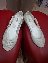 Летние кожаные балетки  МИДА 23474 беж., фото 3