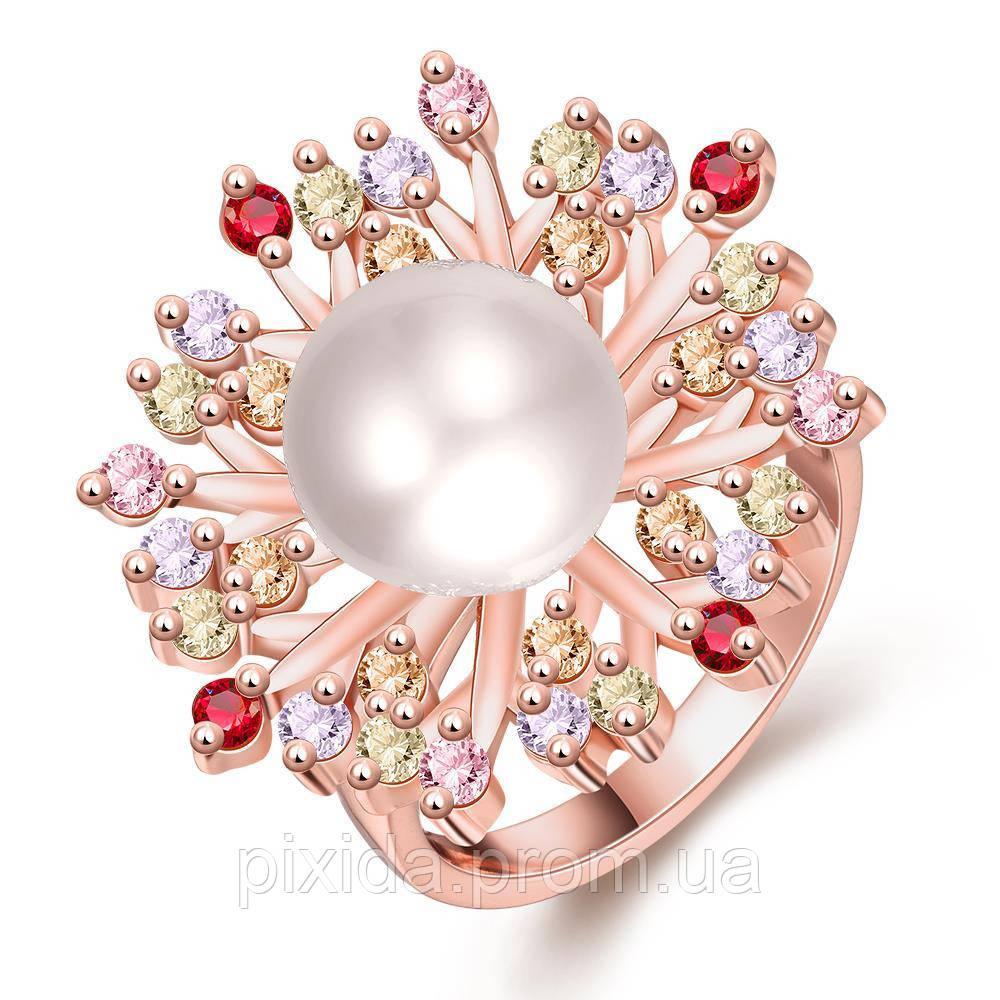 Кольцо цветок жемчужина покрытие 18К золото