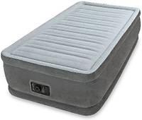 Кровать надувная односпальная со встроенным насосом Intex 64412, флокированное покрытие, цвет серый
