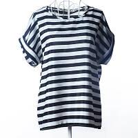 Блуза женская с коротким рукавом / Футболка в горизонтальную полоску черно-белая