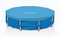 Тент для бассейна 366 см Intex 28031, прочный ПВХ-винил 0,18мм, фиксирующий шнурок, цвет синий