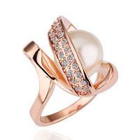 Кольцо жемчужинка покрытие 18К золото