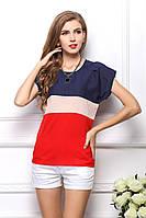 Блуза женская с короткими рукавами / Футболка шифоновая синяя, бежевая, красная