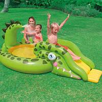 """Детский надувной игровой центр Intex 57132  """"Крокодил"""" с горкой"""