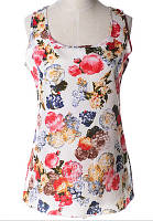 Блуза жіноча без рукавів / Майка шифонова з квітами біла