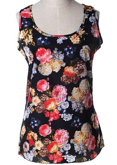 Блуза женская без рукавов / Майка шифоновая черная с цветами