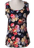 Блуза женская без рукавов / Майка шифоновая черная с цветами , фото 1