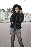 Куртка-жилет лазер 60см+песец с кап.впереди шиншилла 46 48 50 52-8000грн;р58;р60;р62 р64-8500