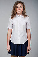Белая блуза-рубашка школьная для девочки старшеклассницы Р-20/1