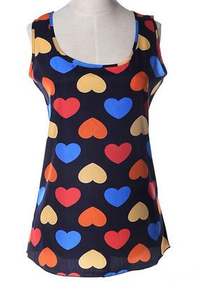 Блуза женская без рукавов / Майка шифоновая с сердечками синяя 44