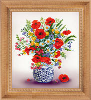 Рисование камнями на холсте Lasko Полевые цветы (5D-095) 50х60 см