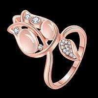 Кольцо тюльпан покрытие золотом 18К