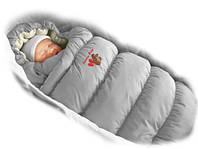 Детский конверт трансформер, пуховик Дутик - Inflated Grey , TМ Ontario Baby (серый+мех)