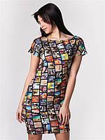 Платье с оригинальным принтом 48-50