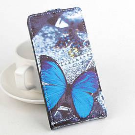 Чехол книжка для Meizu M2 Metal / Blue Charm Metal 2 вертикальный флип, Голубая бабочка