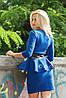 Шикарное женскоеПлатье Баска с эко-кожей  (16) №1006 Размеры: S, M Цвета: бирюза, электрик