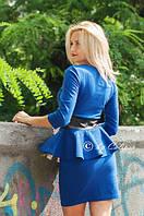 Шикарное женскоеПлатье Баска с эко-кожей  (16) №1006 Размеры: S, M Цвета: бирюза, электрик, фото 1