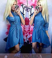 Синее платье - рубашка летний джинс с пояском в клеточку. Арт.-5551/54