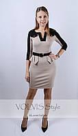 Платье с баской и поясом (29)3016 Материал: французский трикотаж
