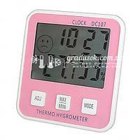 Электронный детский термометр - гигрометр, часы DC 107