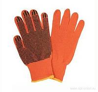 Перчатки рабочие трикотажные с ПВХ точкой, оранжевые