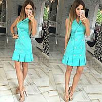 Короткое бирюзовое коттоновое платье с пуговицами. Арт-5375/54