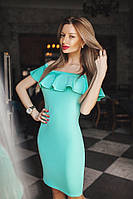 Элегантное бирюзовое платье с открытыми плечами и воланом. Арт-5390/54