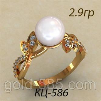f7cbe4f48a6a Превосходное золотое женское кольцо 585   в виде листиков с одной  Жемчужиной - Мастерская ювелирных украшений