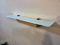Полка 4 мм стеклянная прямая белая 50х10 см, фото 1