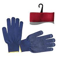 Перчатки рабочие трикотажные с ПВХ точкой, синий, фото 1