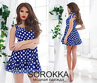 Молодёжное синее платье в белый горошек. Арт.-5556/54