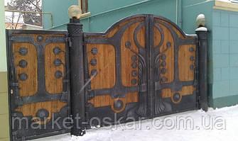 Красивые распашные кованные ворота с заполнением деревом. Полностью ручная работа. Индивидуальное исполнение. Распашные ворота в Киеве и Киевской области - производство, автоматизация.