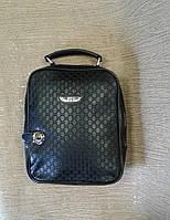 Сумка- портфель,сумка-рюкзак молодежная черная с тиснением.(Турция)