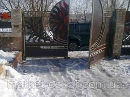 Красивые распашные автоматические ворота. Распашные ворота в Киеве и Киевской области - производство, монтаж, автоматизация.