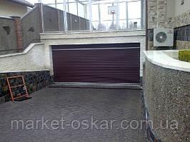 Ворота Ритерна секционные гаражные с фальшпанелью для монтажа без перемычки. Торсионный механизм. Цвет коричневый RAL 8017.