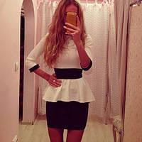 """Стильное платье """"Лакоста"""", белый+черный , фото 1"""