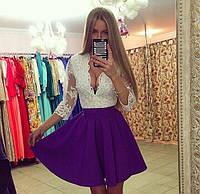 """Яркое коктельное платье """"Фиалка"""", белый+фиолетовый (р-р универсальный), фото 1"""