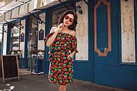 """Модное тёмно синее платье на пуговках принт""""клубничка"""" с поясом, открытые плечи. Арт.-5560/54"""