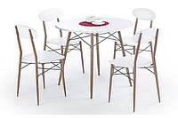 Стол обеденный деревянный RECORD круглый белый Halmar + 4 стула Halmar