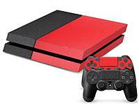 Скины для Sony Рlaystation 4 + 2 геймпада Красно-черный (Винил)