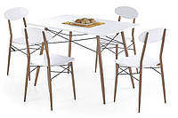 Стол обеденный деревянный RECORD белый Halmar + 4 стула Halmar