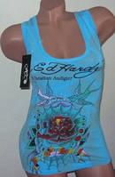 Летняя женская майка Ed Hardy 40-42, 44-46 в голубом цвете